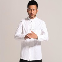 White Men Cotton Linen Long sleeve Kung Fu Shirt Classic Chinese Style Tang Clothing