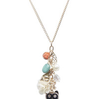 Cute Owl Charms Long Necklace | Wet Seal