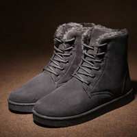 Men's Gray Comfortable Winter Warm Ankle Snow Flat Shoes Lace-up Boots