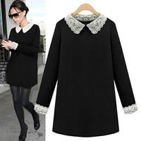 Black Long-Sleeve Lace Collared Dress