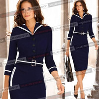2014 Womens Autumn/Winter Elegant Long Sleeve Colorblock Tunic Business Work Casual Cocktail Party Bodycon Pencil Sheath Wiggle Midi Office Dress = 1956614340