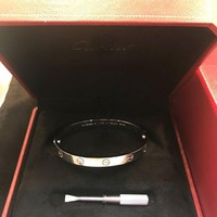 DCCK Cartier Love 18k White Gold Oval Bangle w/Screwdriver & Certificate - Size 17
