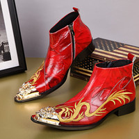 High Quality  Red Patchwork Men Shoes Dragon Metal Pointed Toe Embroidery Leather Boots Men Cowboy Boots Red Wedding Shoes