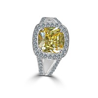 3.5C Square Cushion Diamond Veneer Cubic Zirconia with Halo Pave Sterling Silver Ring. 635R0246