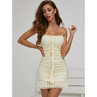 SBetro Ruffle Hem Ruched Lace Dress