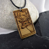 Mens Wood Necklace, Deer Hunting Pendant, Rustic and Earthy Jewelry