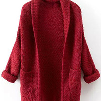 Red Long Sleeve Knitted Cardigan with Pocket