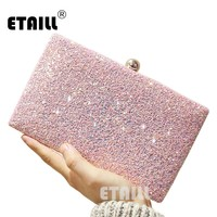 ETAILL Simple Glitter Sparkling Full Sequins Evening Bag Wedding Bride Shoulder Bags Party Day Clutches Purses Chain Handbags