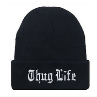 New Thug Life Cuffed Women Men Unisex Warm Winter Knitted Hat Skull Beanie Hiphop Cap Black (Color: Black) = 1946513796