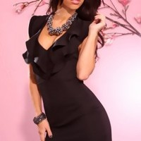 BLACK FITTED RUFFLY HALTER FASHIONABLY SEXY MINI DRESS @ Amiclubwear sexy dresses,sexy dress,prom dress,summer dress,spring dress,prom gowns,teens dresses,sexy party wear,women's cocktail dresses,ball dresses,sun dresses,trendy dresses,sweater dresses,tee