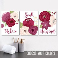 BATHROOM DECOR, Plum Red Maroon Bathroom Wall Art Canvas or Prints Floral Bathroom, Relax Soak Unwind, Flower Bathroom Quotes, Set of 3