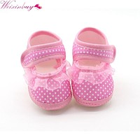 2017 New Printed Dot Baby Girls Shoes Polka Dot Soft Sole Cotton First Walkers leisure Shoes 3 Colors