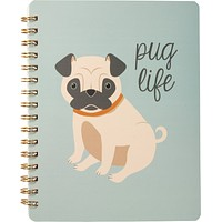 """Pug Life Spiral Notebook in Soft Blue 