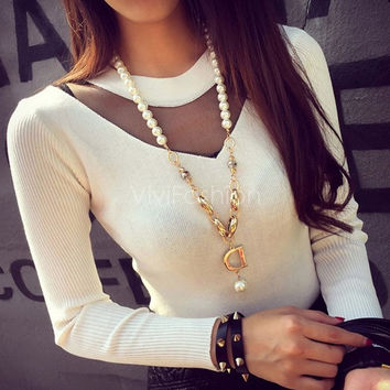 Fashion Women Round Neck Long Sleeve Sheer Mesh Patchwork Tops Blouse VVF = 1828250244