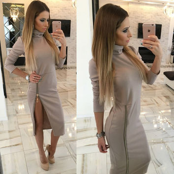 2017 New Zippers Side Split Sexy Bodycon Sheath Dress Women Midi Dresses Solid Long Sleeve Femme Pencil Tight Dress GV324