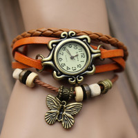 Orange Watch Bracelet Super Cool Layered Look In Style Butterfly Charm