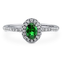 Sterling Silver Oval Simulated Emerald CZ Halo Ring 0.59 ct.twBe the first to write a reviewSKU# R962-EM