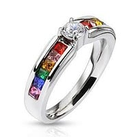 Celebration - FINAL SALE Stainless Steel Engagement Ring with Clear Center Gem and Rainbow CZs