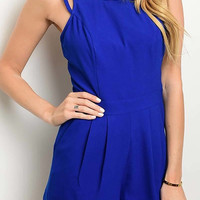 Sleeveless Zippered Lined Solid Royal Blue Romper
