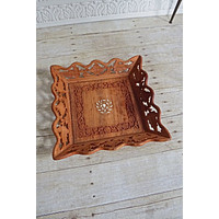 Vintage Handmade  Carved Wood Inlay Tray