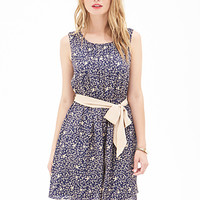 LOVE 21 Dove Print Sheath Dress Navy/Tan