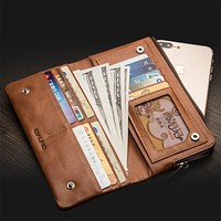 Holster for iPhone 7 & iPhone 7 plus Handmade Genuine Leather Wallet Case for iPhone 6s slots for cards