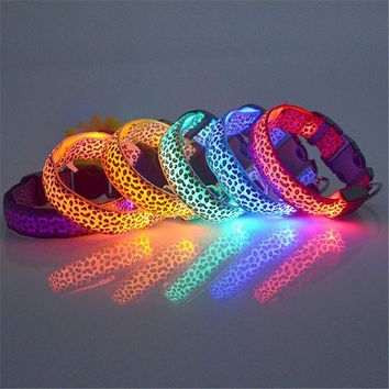 Leopard Puppy Pet Dog Safety LED Collar Light Up LED Collars Chains Multi-Color H1