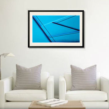 Original abstract painting on paper. Geometric art with turquoise, blue, black, and white. Large painting