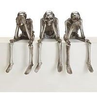 See Hear Do No Evil Skeleton Trio with Dangle Legs