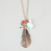 Full Tilt Feather/Bird/Rose Charm Necklace Gold One Size For Women 24206062101