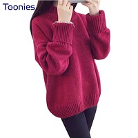 New Fashion Sweet Oversized Pullover Women Sweater Long Sleeve Women's Knitted Sweaters Loose Pulover Feminino Turtleneck Poncho