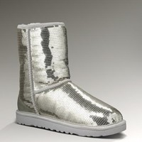 UGG 3161 Classic Short Sparkles Boots Silver