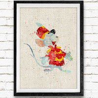 Dumbo Timothy Mouse Watercolor Art Print, Baby Room, Nursery Wall Art, Home Decor, Not Framed, Buy 2 Get 1 Free!