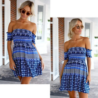 Off Shoulder Wrap Chest Mini Dress