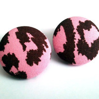 Light pink and brown leopard large button earrings