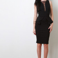 Women's Ruffle Peplum Midi Dress