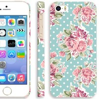 iPhone 5s Retro Flower Case for girl, Akna Retro Floral Series Vintage Flower Pattern Rubber Coating Back Case for iPhone 5 5S (Polka Dots Rose)(U.S)