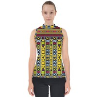 Shapes Rows Mock Neck Shell Top