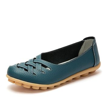 Women Flats Fashion Genuine Leather Casual Loafers Shoes