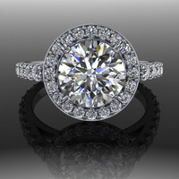 Forever Brilliant Moissanite Halo Engagement Ring 2.72 CTW