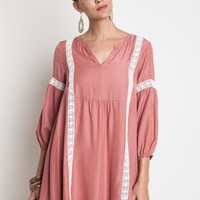 Umgee Dusty Rose Tunic Dress with Lace Trim