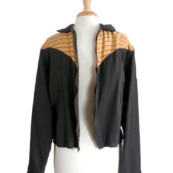 Vintage 1950s Mens Jacket Black with Yellow Striped Pattern Collared with Zippered Front Gabardine Fabric - Sir Jac - Rockabilly Style