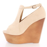 Nude Peep Toe Cut Out Platform Wedges Faux Suede