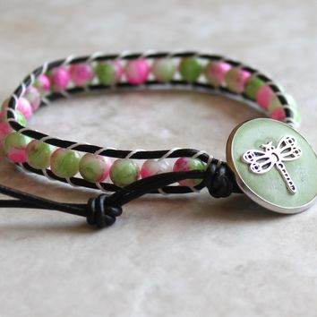 Pink and green glass beads, leather wrap bracelet with dragonfly button closure