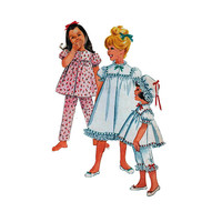"""1960's McCall's 6123 Girl's Nightgown or Pajamas and Nightcap Size 2 