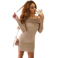 2016 Winter Elegant White Stretchy Knitted Casual Dress Women Evening Party Sexy Autumn Bodycon Sweater Girls Dresses Vestidos