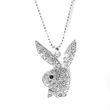 High Gloss Finish Silver Plated Play Bunny Boy Charm and Chain