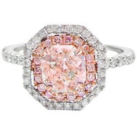 Natural Fancy Light Pink Radiant Cut Diamond Engagement Ring