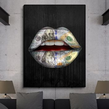 QKART Poster and Print Picture Sexy Lips Painting Home Decor No Frame Wall Pictures for Living Room Canvas Painting Wall art