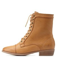 Natural Bamboo Almond Toe Lace-Up Combat Boots